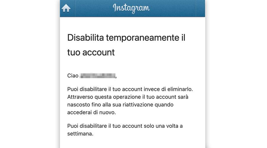 Disabilitare temporaneamente account Instagram