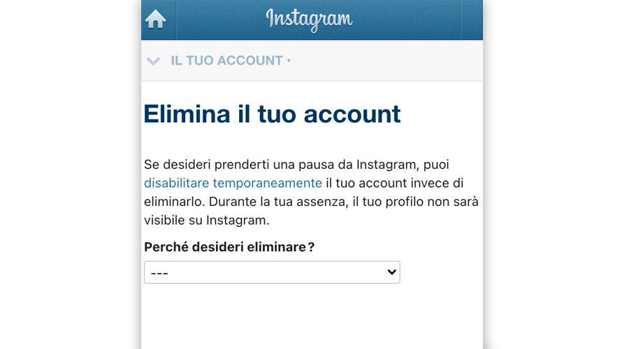 Eliminare account Instagram o da smartphone e pc
