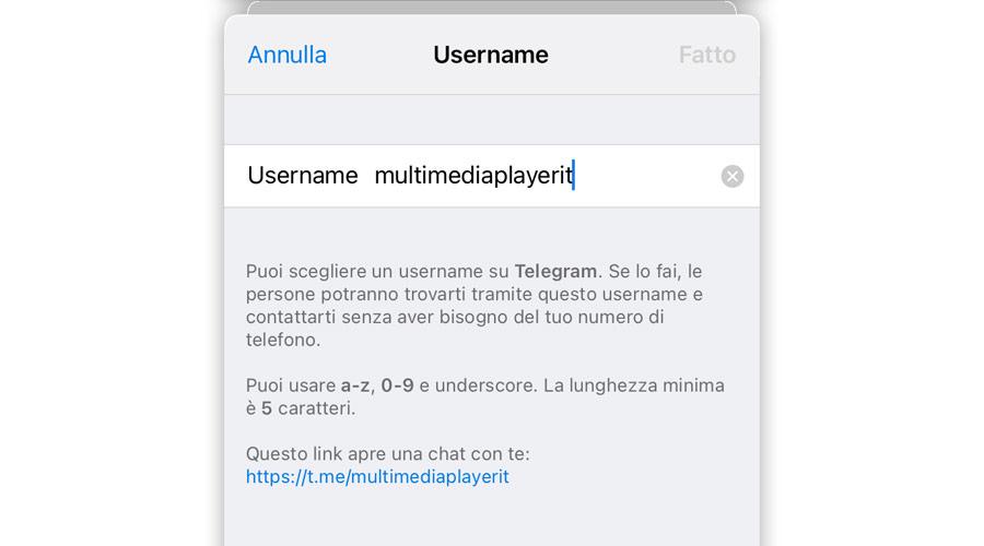 Come nascondere lo username di Telegram
