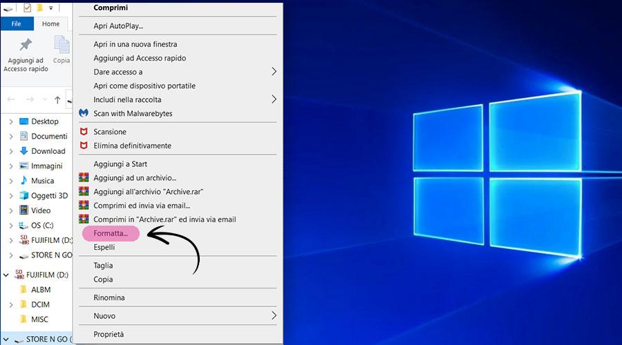 Formattare una chiavetta USB su Windows