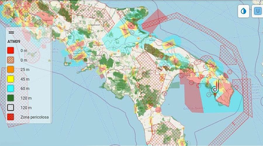 Esempio di aree protette con il sistema Geofencing
