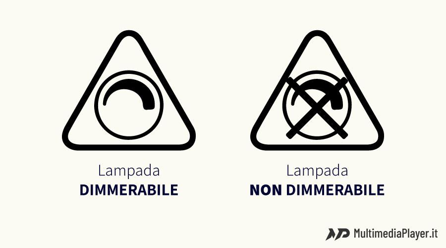 Icona che contraddistingue una lampada dimmerabile da una non dimmerabile