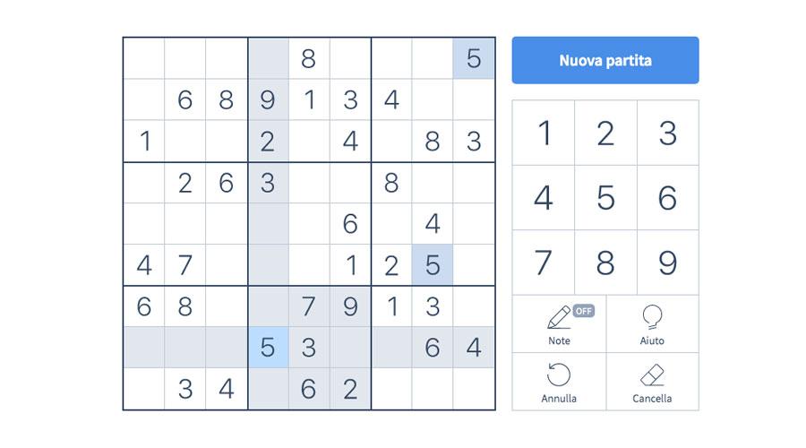 Giocare a Sudoku direttamente online