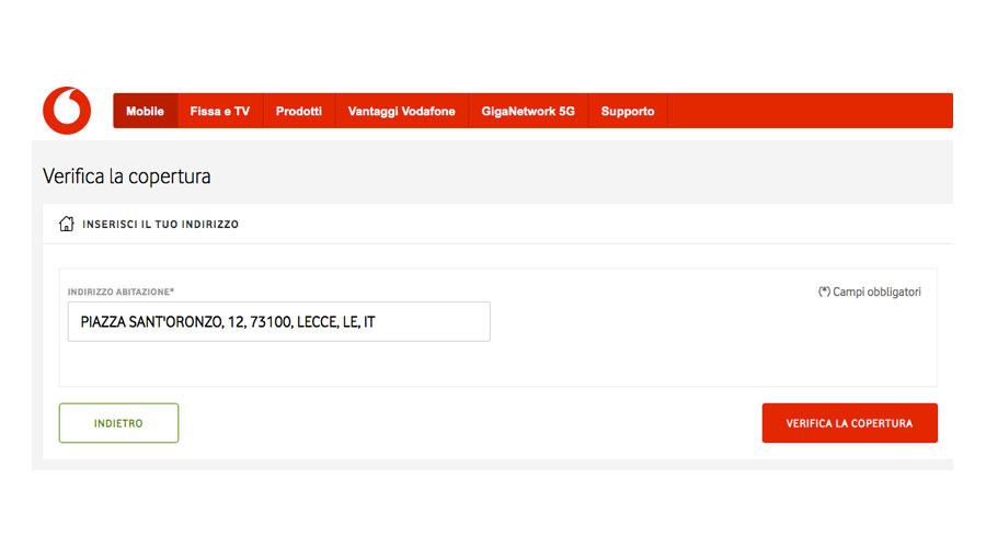 Ricerca copertura rete mobile Vodafone